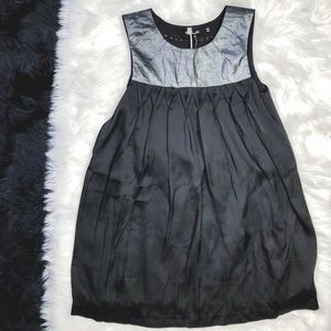 Miss Me Black Silver Metallic Trapeze Dress